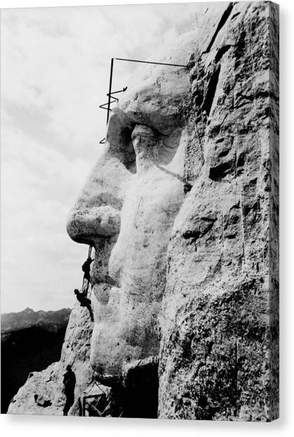 South Dakota Canvas Print - Mount Rushmore Construction Photo by War Is Hell Store