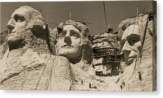 Mt. Massive Canvas Print - Mount Rushmore Construction by Underwood Archives