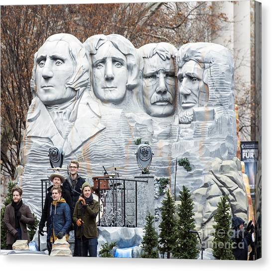 Macys Parade Canvas Print - Mount Rushmore Float At Macy's Thanksgiving Day Parade by David Oppenheimer