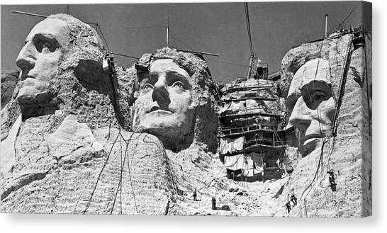 Theodore Roosevelt Canvas Print - Mount Rushmore In South Dakota by Underwood Archives