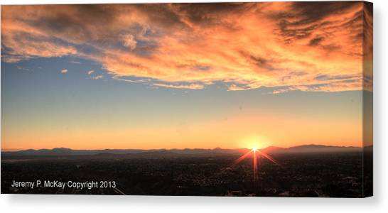 Canvas Print featuring the photograph Mount Soledad Panoramic Sunrise by Jeremy McKay
