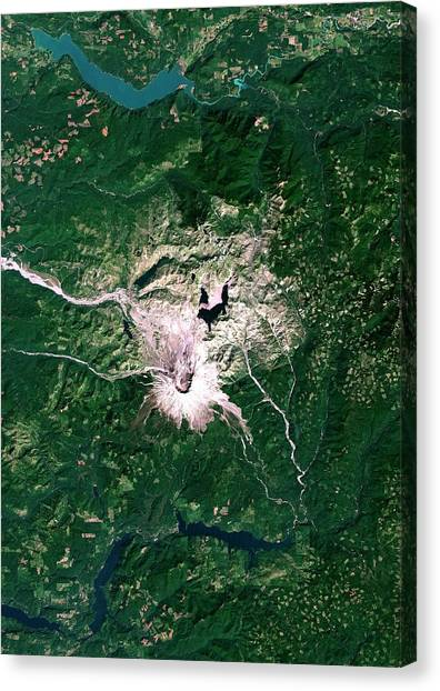Mount St. Helens Canvas Print - Mount St Helens Volcano by Planetobserver/science Photo Library