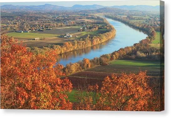 Sunderland Canvas Print - Mount Sugarloaf Connecticut River Autumn by John Burk