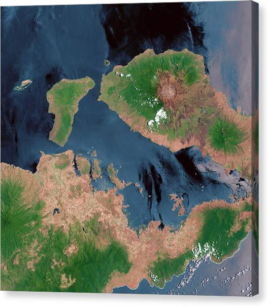 Mount Tambora Canvas Print - Mount Tambora by Us Geological Survey