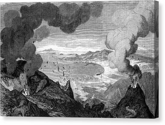 Mount Vesuvius Canvas Print - Mount Vesuvius Erupting by Bildagentur-online/tschanz