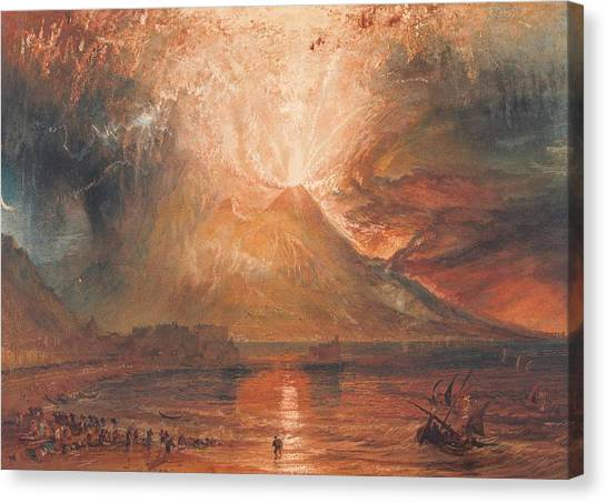 Mount Vesuvius Canvas Print - Mount Vesuvius In Eruption by JMW Turner