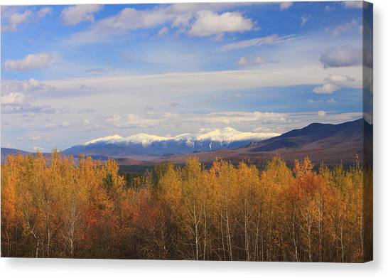 Mount Washington And Presidential Range Snow Foliage Canvas Print