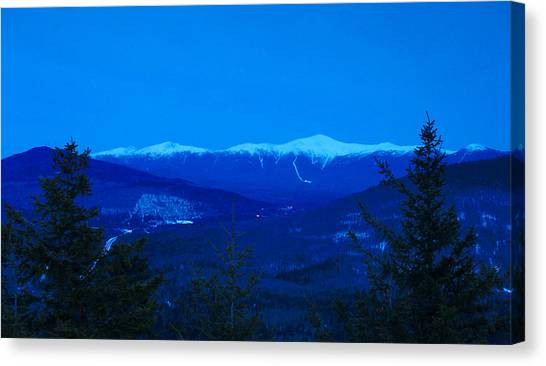 Mount Washington And The Presidential Range At Twilight From Mount Sugarloaf Canvas Print