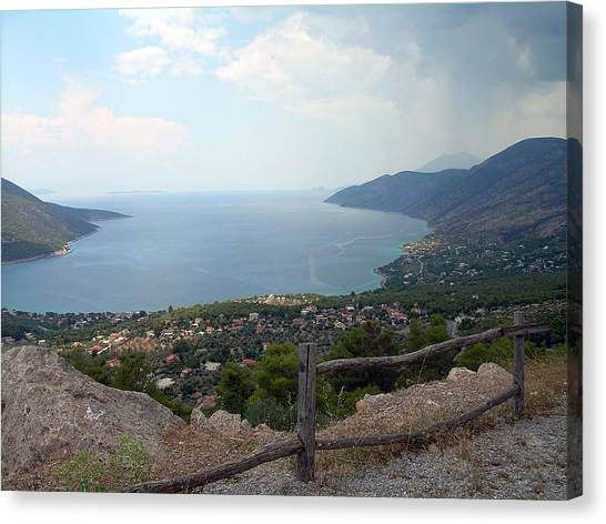 Mountain And Sea View In Greece Canvas Print