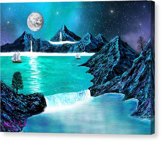 Mountain Bay Canvas Print by Michael Rucker