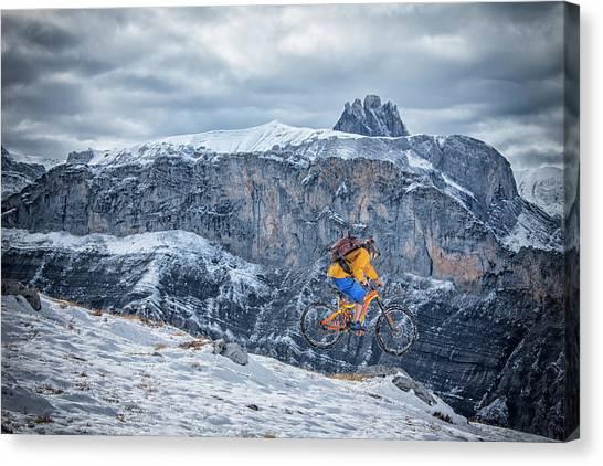 Backpacks Canvas Print - Mountain Bike Mtb In The Snow by Stefan Kuerzi