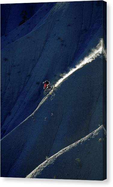 Freeriding Canvas Print - Mountain Biker Descends Steep Hill by Chris Giles