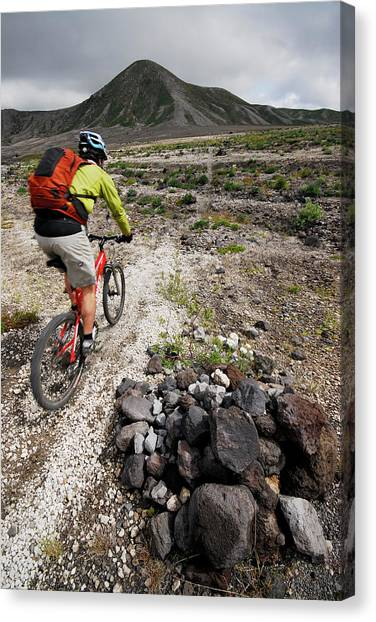Mount St. Helens Canvas Print - Mountain Biking At Mount. St. Helens by Rich Wheater
