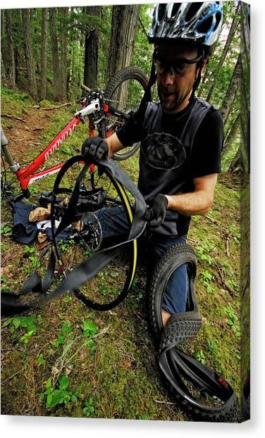Dirt Bikes Canvas Print - Mountain Biking Near Whistler, British by Rich Wheater