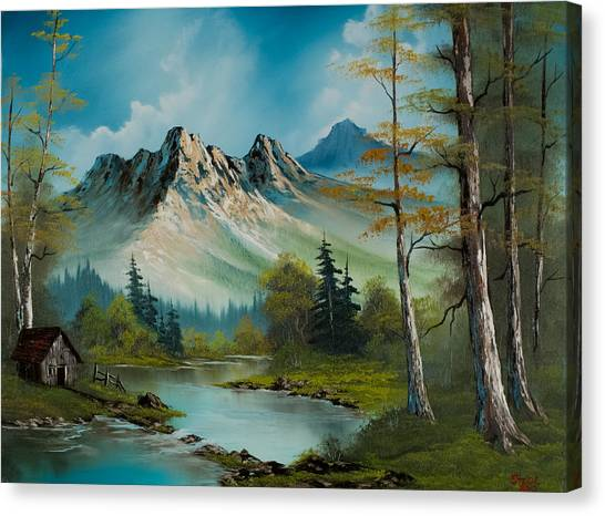 Bob Ross Canvas Print - Mountain Retreat by Chris Steele