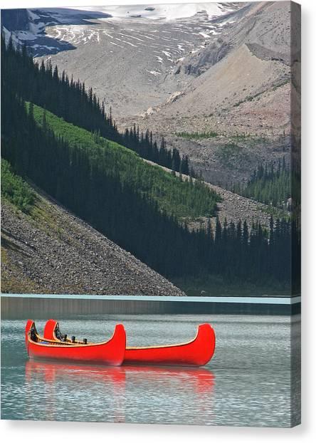 Mountain Canoes Canvas Print