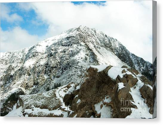 Canvas Print featuring the photograph Mountain Covered With Snow by Yew Kwang