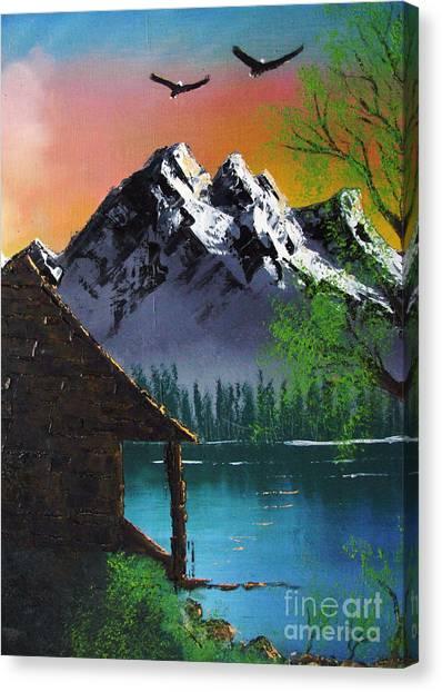 Mountain Lake Cabin W Eagles Canvas Print