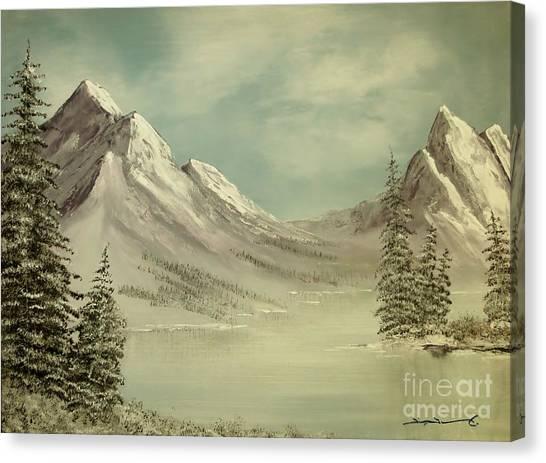 Mountain Lake Winter Scene Canvas Print