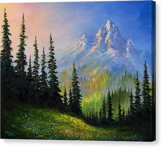 Bob Ross Canvas Print - Mountain Morning by Chris Steele