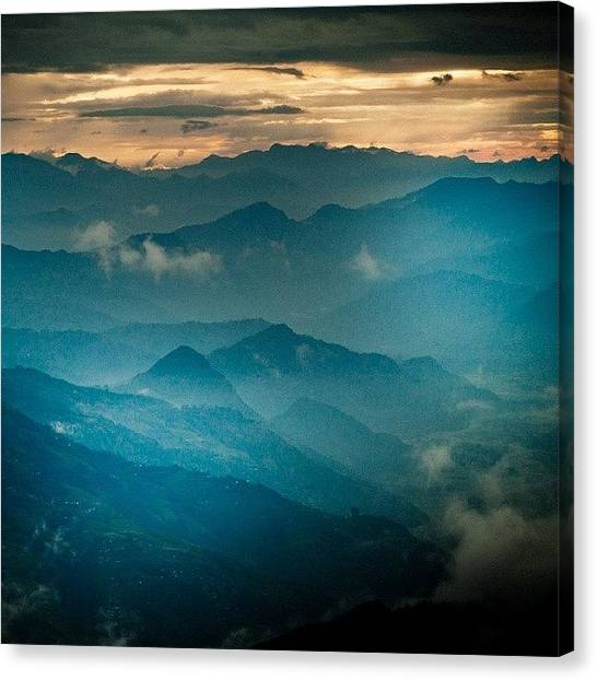 Sunset Horizon Canvas Print - Mountain Panoramic by Raimond Klavins
