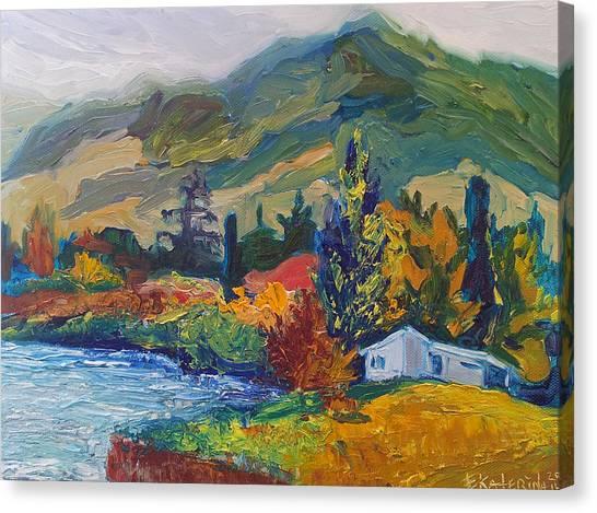 Mountain Painting Oil Landscape Ekaterina Chernova Canvas Print