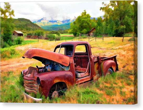 Mountain Ranch Truck Canvas Print