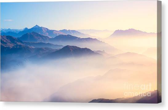 Magician Canvas Print - Mountain Range With Visible Silhouettes by Easy Camera