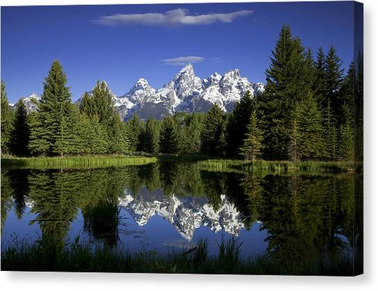 Teton National Forest Canvas Print - Mountain Reflections by Andrew Soundarajan