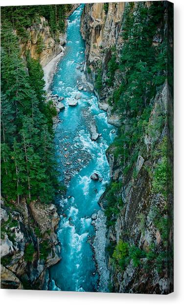 Mountain River Ganga In Valley Himalayas India Canvas Print