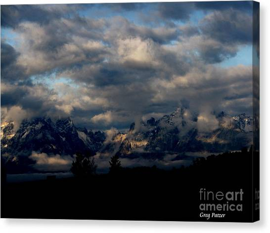 Mountain Silhouette Canvas Print by Greg Patzer