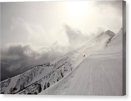 Mountain Snow Storm Approaching Ski Run Canvas Print