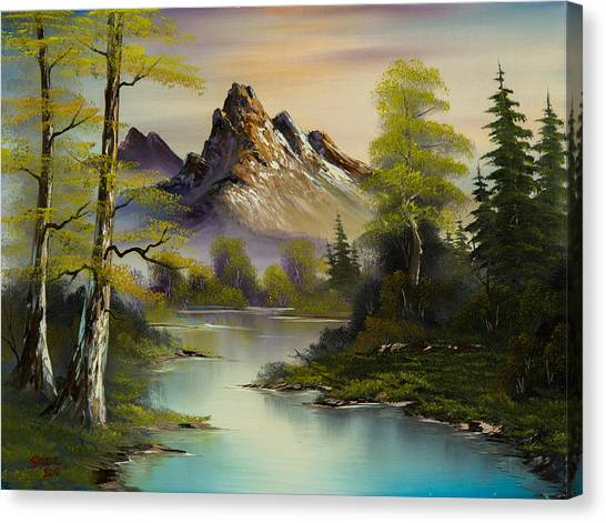 Bob Ross Canvas Print - Mountain Evening by Chris Steele