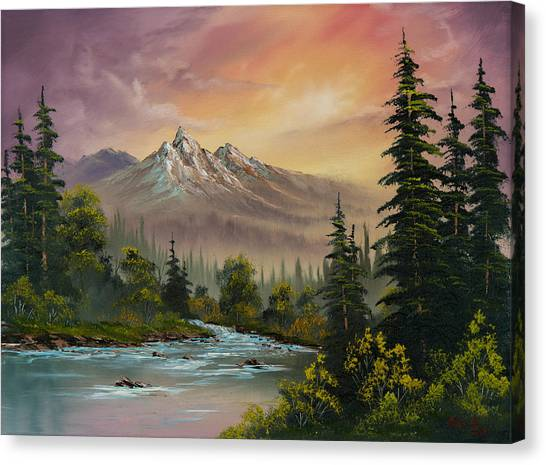 Pine Trees Canvas Print - Mountain Sunset by Chris Steele