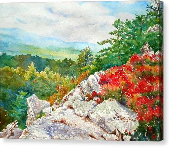 Mountain View From Rocky Cliff With Fall Colors Canvas Print by Mira Fink