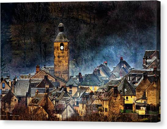 Church Canvas Print - Mountain Village In France by Alain Mazalrey