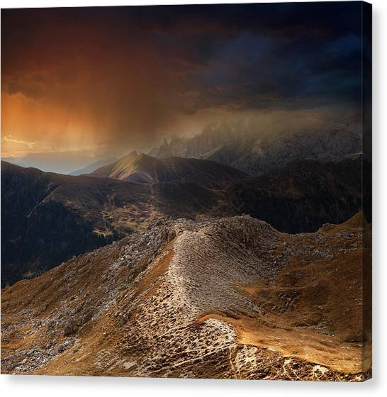 Weathered Canvas Print - Mountain Weather by Nicolas Schumacher