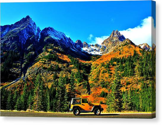Offroading Canvas Print - Mountain Wrangler by Benjamin Yeager