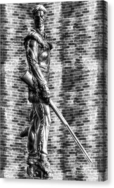 Mountaineer Statue With Black And White Brick Background Canvas Print