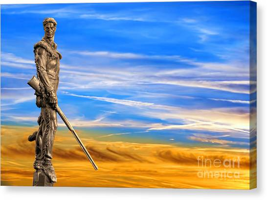 Mountaineer Statue With Blue Gold Sky Canvas Print