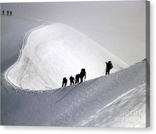 Mountaineers To Conquer Mont Blanc Canvas Print