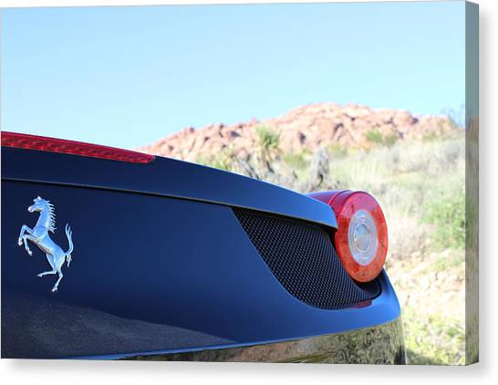 Red Rock Canvas Print - Mountains And Ferrari by Jeff Hawley