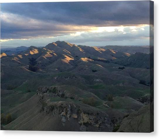 Mountains At Sunset Canvas Print by Ron Torborg