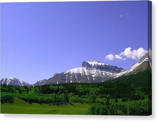 Mountains Crowsnest Canvas Print by Mavis Reid Nugent