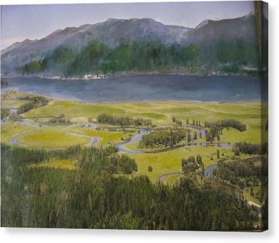 Mountains In Montana At Flathead Lake Canvas Print