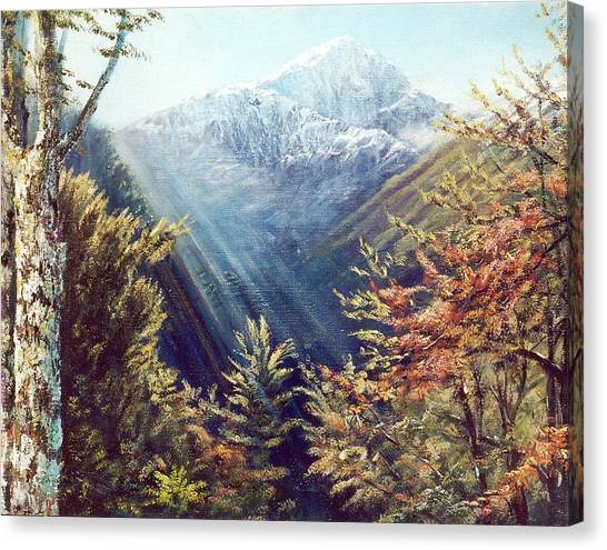 Mountains In The Mist Canvas Print by Peter Jean Caley