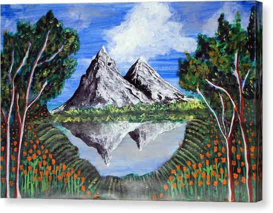 Mountains On A Lake Canvas Print