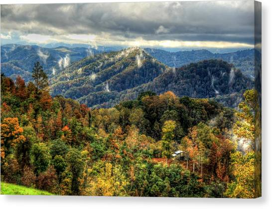 Mountains Smoking Canvas Print by Heavens View Photography