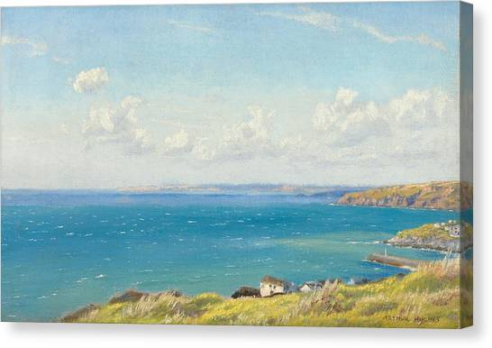 Ocean Cliffs Canvas Print - Mount's Bay C1899 by Arthur Hughes