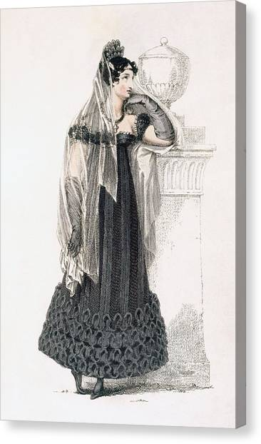 Black Widow Canvas Print - Mourning Dress, Fashion Plate by English School